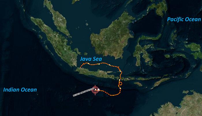 dérive d'une bouée Marge-T en Indonésie