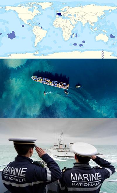 Carte ZEE, navire et marins de dos