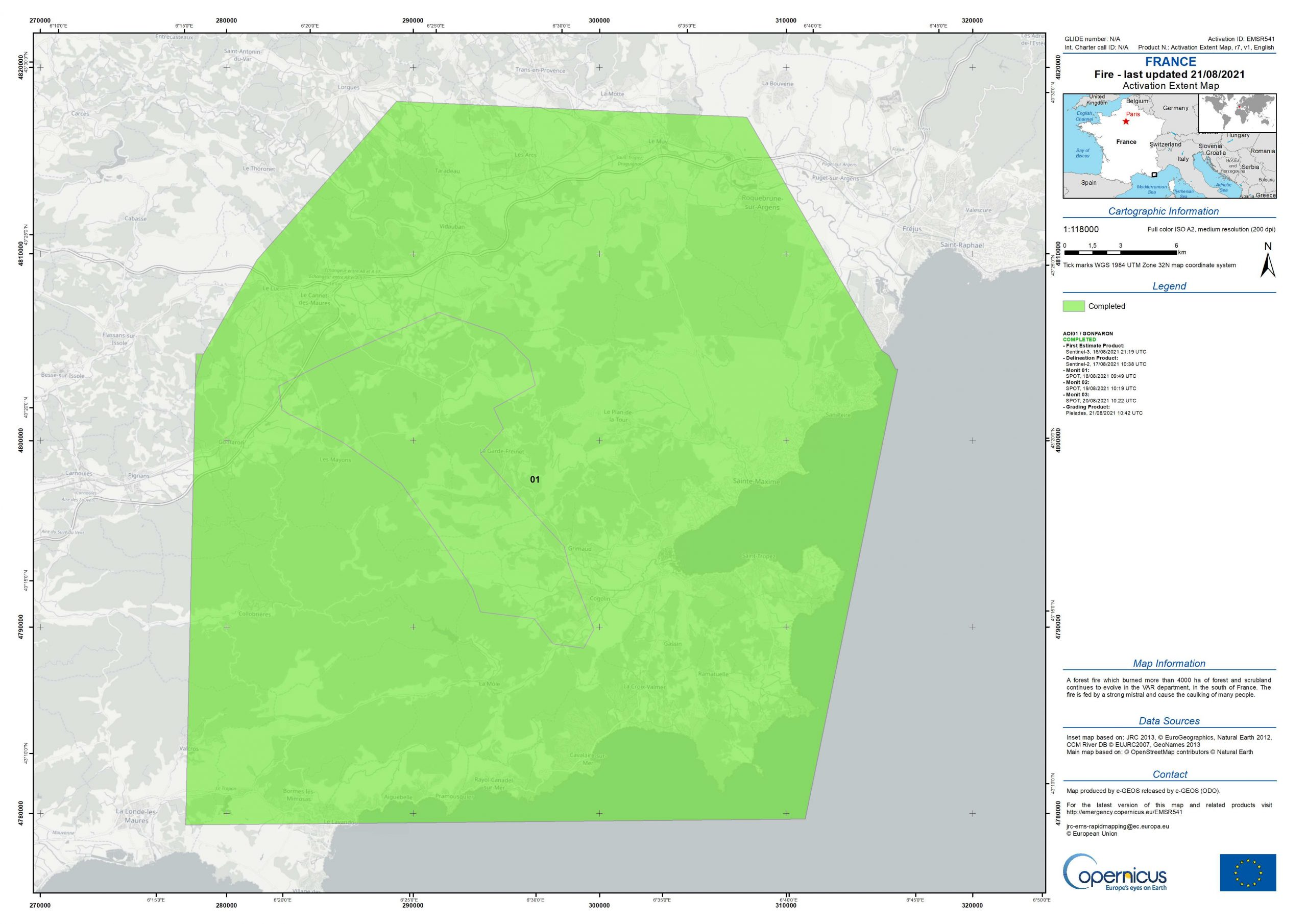 image satellitaire de l'incendie dans le Var