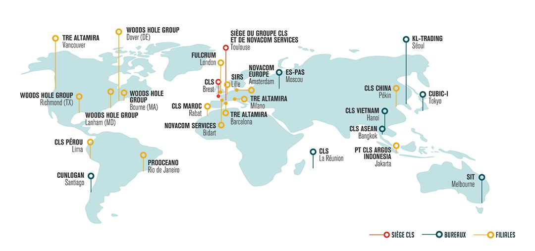 Carte implantation de CLS dans le monde