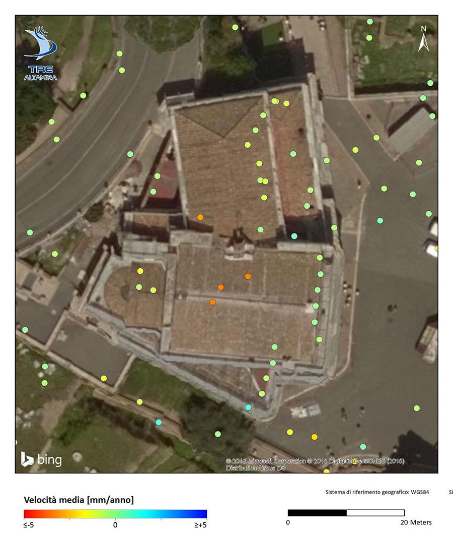 mesures SqueeSAR et TerraSAR-X de l'église San Giuseppe dei Falegnami