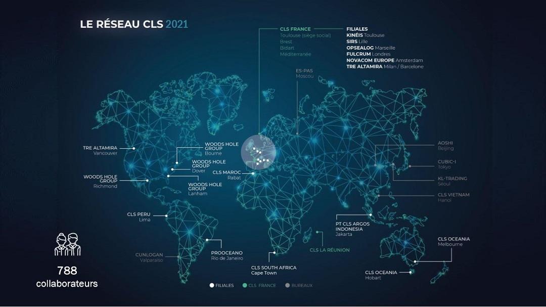 carte des bureaux et filiales du groupe CLS