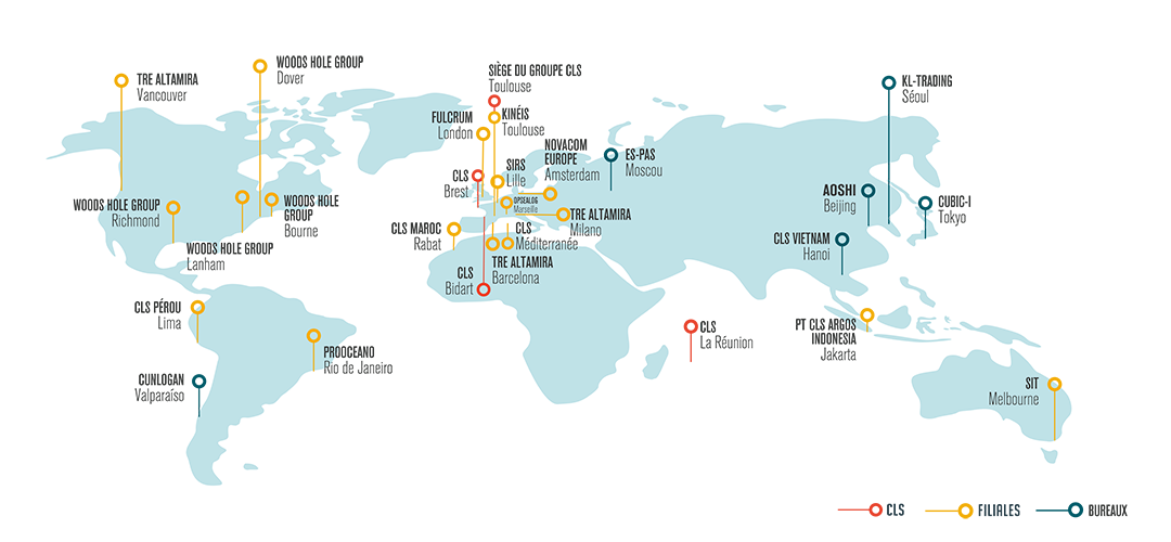 Carte d'implantation de CLS dans le monde