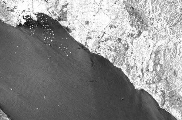 image radar de la marée noire en Californie