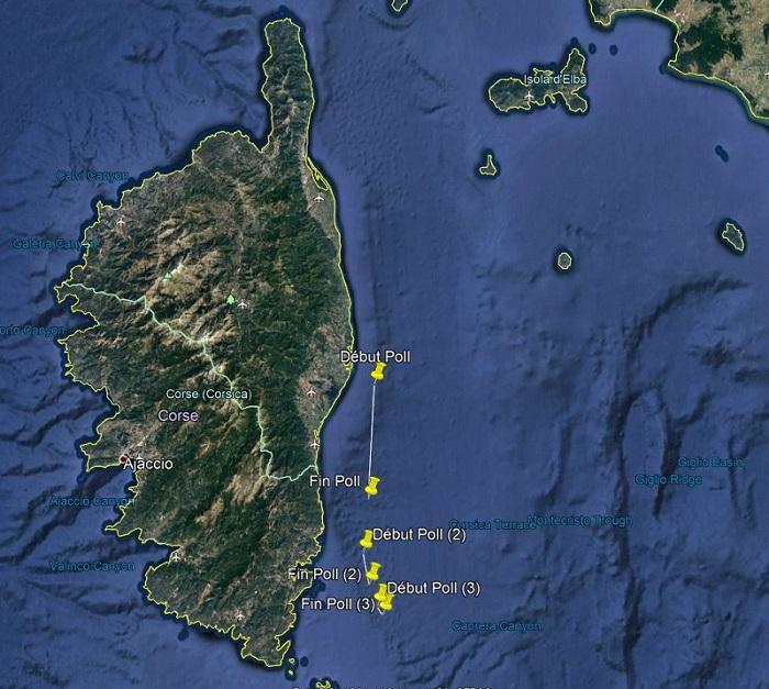 pollution d'hydrocarbure au large de la Corse