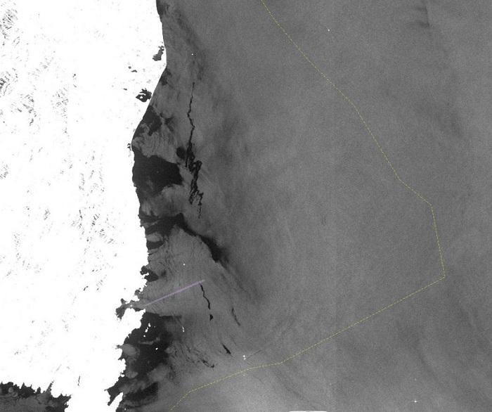 Image radar des nappes de pollution d'hydrocarbures près de la Corse
